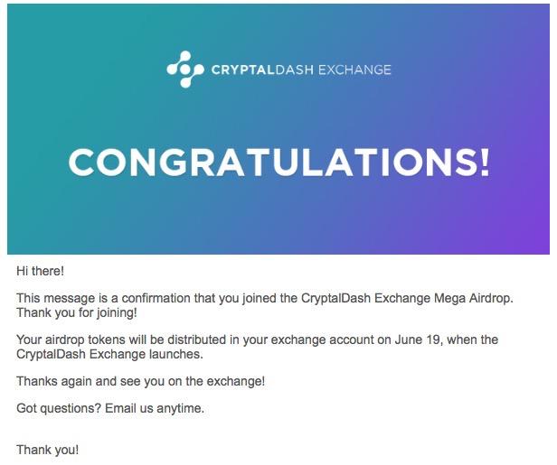 CryptalDash Airdrop Email